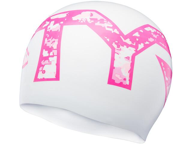 TYR Graphic Silicone Swim Cap, blanco/rosa